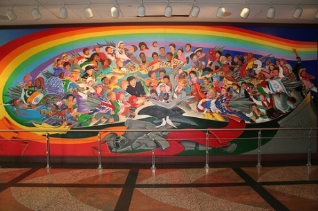 The Children of the World Dream of Peace, left panel.